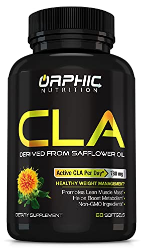 CLA Safflower Oil Supplement for Weight Loss, Metabolism & Building Lean Muscle Mass - W/ 100% Pure Safflower Oil - 780mg Non-Stimulant Conjugated Linoleic Acid for Men & Women - 60 Softgels