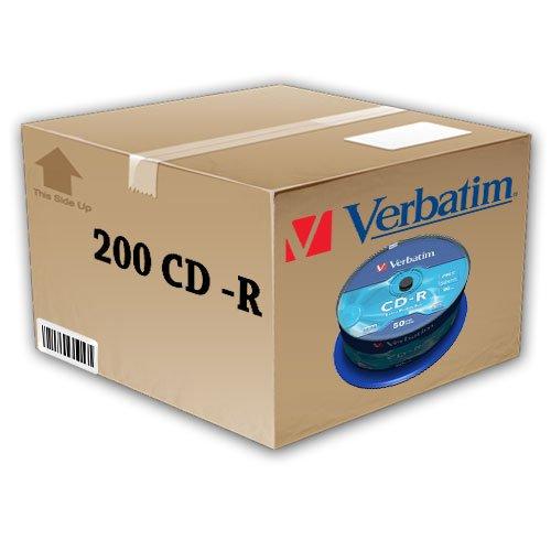 200 CD -R VERGINI VUOTI 100% VERBATIM 52X 700MB PER AUDIO DATI EXTRA PROTECTION