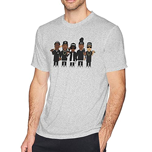 IUBBKI N-W-A Fashion Cotton Camiseta Estampada de Manga Corta para Hombre Gris