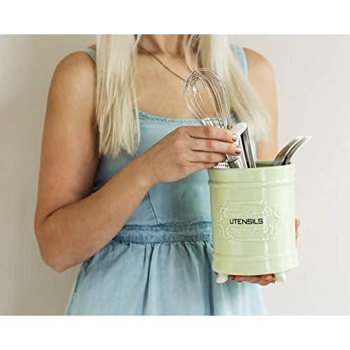 Comfify French Ceramic Utensil Holder - Green