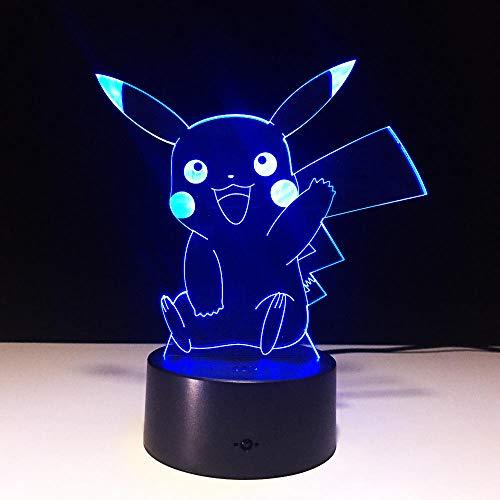 Lámpara De Ilusión 3D Luz De Noche Led Lámpara De Pokemon Linda Pikachu Para Niños Juguetes Regalos De Vacaciones Usb Lampe Lampara Fábrica Al Por Mayor
