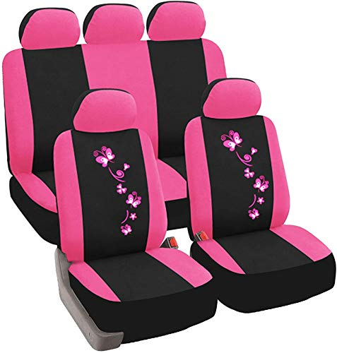 EET Car Seat Cover 9 Part Lige Seat Cover for Car with Beautiful Butterfly Embroidery Universal Covers Suitable for 95% of The 5 Seats Cars,Pink