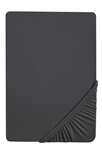 biberna 0077155 Jersey Spannbetttuch (Matratzenhöhe max. 22 cm) (Baumwolle) 90x190 cm -> 100x200 cm, titanium
