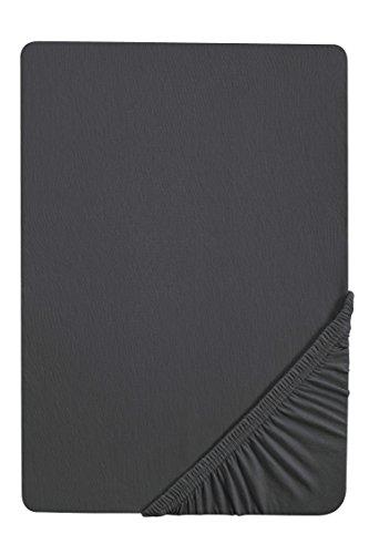 biberna 0077866 Jersey-Elastic Spannbetttuch (Matratzenhöhe max. 25 cm) (Baumwolle/Elasthan) 140x200 cm -> 160x220 cm, titanium