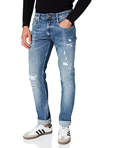REPLAY Anbass Jeans, 009 Blu Medio, 32W x 34L Uomo