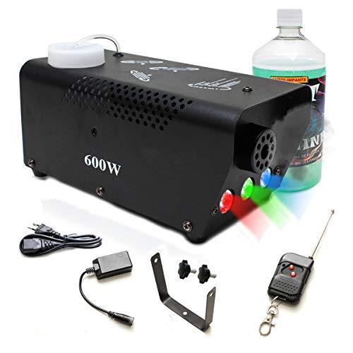 Máquina de Fumaça 600W Efeito Led RGB Controle Remoto 220V + Litro