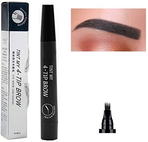N/O Eyebrow Tattoo Pen, Microblading Augenbrauenstift, 3 Farben Tattoo Augenbrauenstift Wasserfest Long Lasting Eyebrow Tattoo-Bleistift mit vier Fork Spitzen