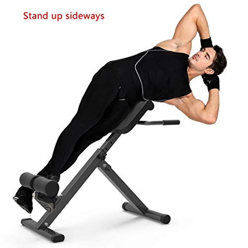 GKDGKD Adjustable Roman Chair, Back Hyperextension Bench with Push Up Exercise, Foldable Hyper Back Extension Equipment for Home Gym Fitness (Black)