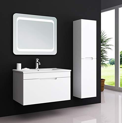 Oimex Kimia 60 cm Badmöbel Set mit LED Spiegel + 1X Seitenschrank Hochglanz Weiß Badezimmer Set mit viel Stauraum LED Waschtisch Keramik Waschbecken