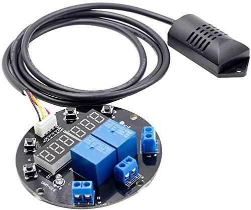 WJHCDDA Termómetro Cocina Módulo de Controlador de Temperatura de Humedad 12V Módulo de Pantalla Digital Tablero de termómetro Tablero 1M Sensor Salidas de retransmisión Dual