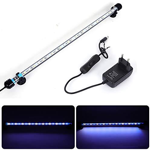 MLJ Aquarium Beleuchtung, LED Aquarium Leuchte 48 cm Wasserdicht Aquarium Lampe Stecker EU Unterwasser LED-Lichtbalken für Fisch Tank (Weiß & Blau)