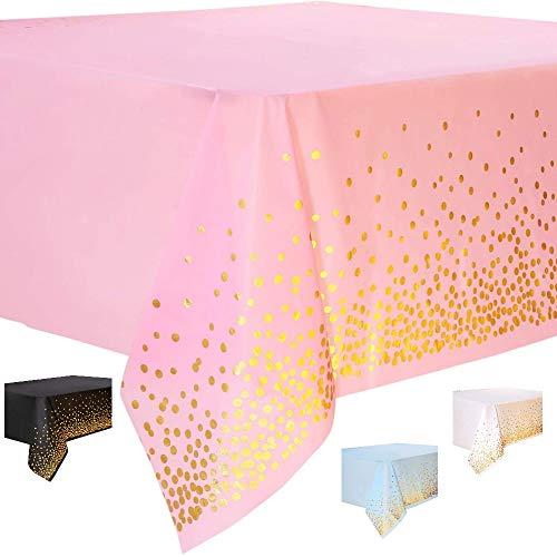 DIWULI, große Tischdecke rosa, Tafeldecke 273 x 137 cm rechteckig, Tafeltuch Punkte gold, einweg Tischwäsche, Kunststoff-Tischdecke abwaschbar Kinder-Geburtstag, Mädchen Junge, Motto-Party, Dekoration