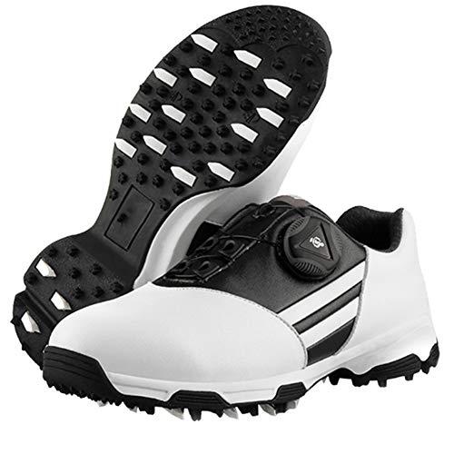 CGBF- Lässige Kinder-Golfschuhe für Jungen, rutschfest, wasserdicht, atmungsaktiv, Sportschuhe, bequem, atmungsaktiv, Sneakers mit drehbarem Schnürsystem., Schwarz - Schwarz - Größe: 34 EU