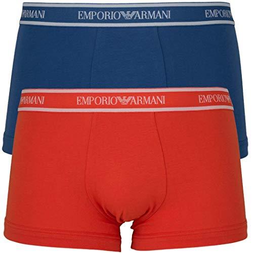 Emporio Armani 2Pack Herren Boxershorts Stretch Baumwolle Gr:M Farbe:Orange Blau