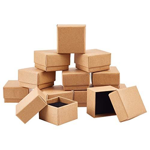 PandaHall Paquete de 48 cajas de cartón para pendientes de anillo, 4 x 4 x 2,8 cm, caja de joyería cuadrada con espuma pequeñas cajas de regalo para el día de San Valentín, bodas, cumpleaños, Navidad