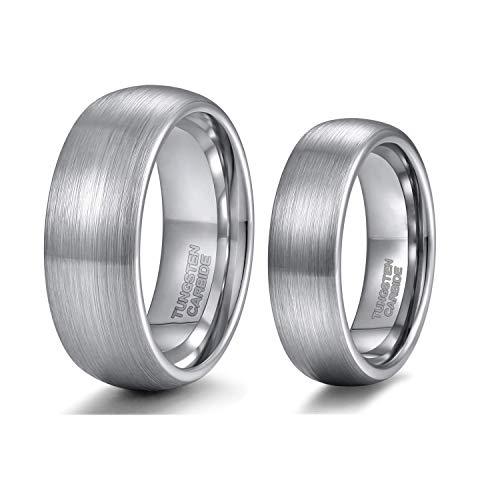 Zakk Verlobungsringe Eheringe Trauringe Silber für Damen Herren aus Wolfram Titan 6mm 8mm Größe 47 bis 72 (Wolfram-6mm, 60 (19.1))