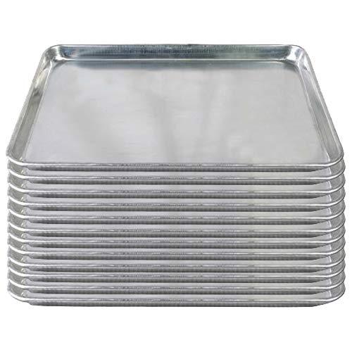 Tiger Chef Aluminiumblechform, 45,7 x 66 cm, kommerzielle Backwarenausstattung, Kuchenformen, NSF-zugelassen, 19 Gauge, 12 Stück