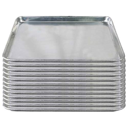 Tiger Chef Full Size 18 x 26 inch Aluminum Sheet Pan Commercial Bakery Equipment Cake Pans NSF Approved 19 Gauge 12 Pack