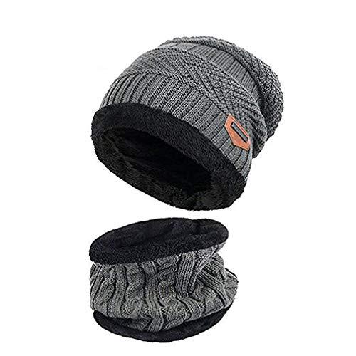Boboder Kinder Winter Mütze Hut Schal Set Warme Dicke Knit Ski Schädel Cap mit Fleece Futter für Kinder Jungen Mädchen