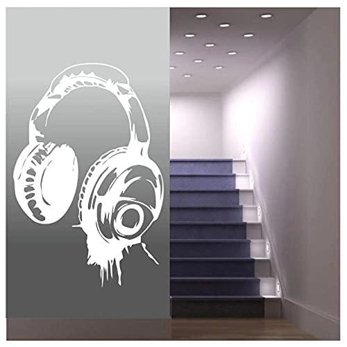 Póster Adhesivos Pared Desmontable Delicados Papel Tapiz Auriculares Música Pegatinas De Pared Art Decal Papel Pintado Decoración Niños Dormitorio Mural 54X85cm