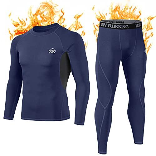 MEETWEE Thermounterwäsche Funktionsunterwäsche Herren, Skiunterwäsche Winter Suit Atmungsaktiv Lange Thermo Unterwäsche Set Thermowäsche Unterhemd + Unterhose-Blau-L