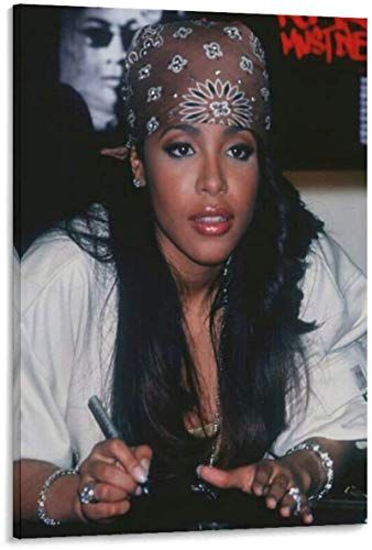 Lienzos De Fotos Sin Marco 40x60cm Cartel de cantante Aaliyah 90s Hip Hop Bandana cartel decorativo sala de estar dormitorio