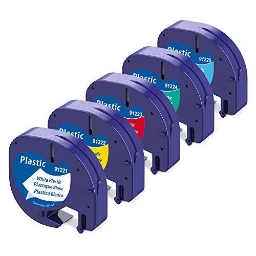 Aken Nastro per Etichette Compatibile In sostituzione di Dymo LetraTag 12mm x 4m Etichette in Plastica Nero su Bianco/Rosso/Giallo/Verde/Blu per Dymo Letra Tag LT-110T LT-100H Plus QX 50 XR XM 2000