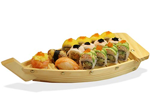 """Wooden Sushi Serving Tray Boat Board Plate for Restaurant or Home 14.6'x6'x2.8"""""""