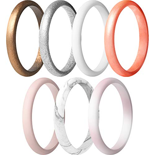 ThunderFit Women's Thin and Stackable Silicone Rings Wedding Bands - 7 Pack (Bronze, White, Rose Gold, Silver, Light Pink, Marble, Light Rose Gold, 7.5-8 (18.2mm))