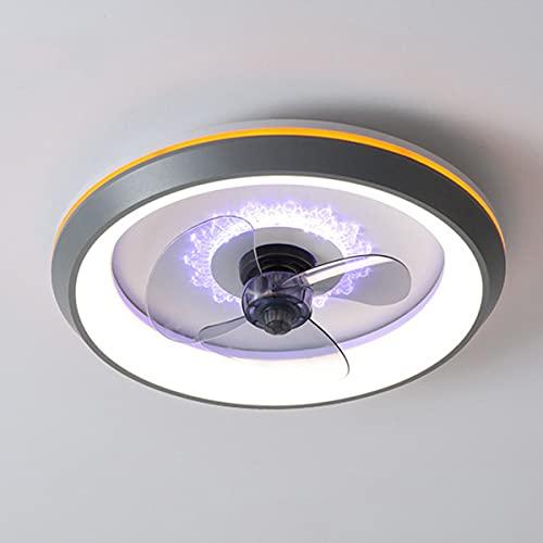 QJUZO Silencioso Ventilador De Techo con Luz LED 80W, Moderna Lámpara De Techo Regulable con Control Remoto, 3 Velocidades, Luz De Techo para Dormitorio Sala De Estar Oficina Ø50cm,Gris