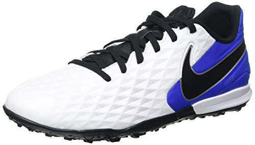 Nike Unisex Legend 8 Academy TF Football Shoe, White/Black-Hyper Royal-Metallic Silver, 40 EU