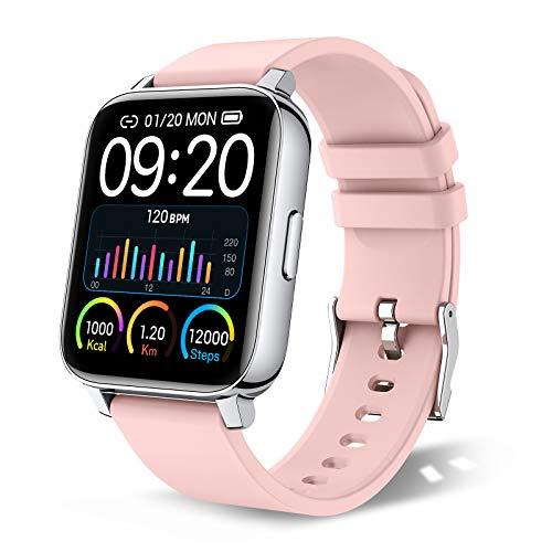 chalvh Smartwatch Damen, 1.69 Zoll Voll Touchscreen Fitness Tracker, IP67 Wasserdicht Sportuhr, Uhr mit Schrittzähler Pulsuhr, Smart Watch Aktivitätstracker, Schlafmonitor, Stoppuhr für Damen (Rosa)
