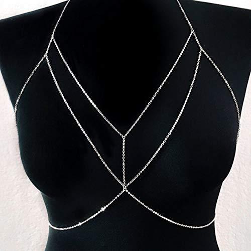 Jovono Fashion Einfache Sexy Bauch Körper Kette Halskette Bikini Kabelbaum Körper Frauen und Mädchen (silber)