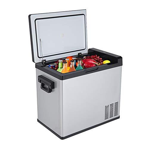 LLP LM 50L Compressor Touch Screen Car Refrigerator Stainless Steel Black for Outdoor, DC12V / 24V AC100V-240V 54Quart / 1.7CU.FT,a