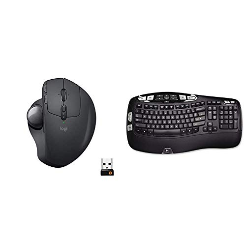 Logitech MX Ergo Wireless Trackball Mouse – Adjustable Ergonomic Design (Bluetooth or USB), Graphite & K350 2.4Ghz Wireless Keyboard