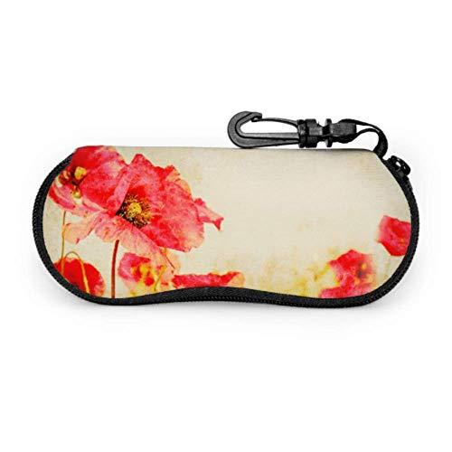 Estuche para gafas Carcasas de gafas Amapolas floreciendo en el prado rojo Primavera Gafas caso suave con cremallera neopreno gafas de sol bolsa protectora bolsa