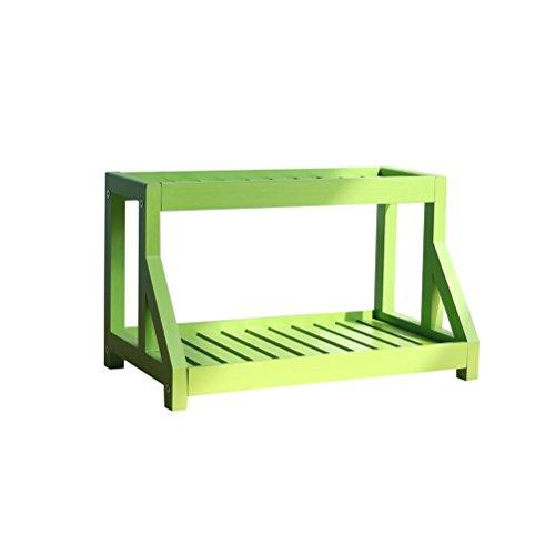 AJZGF Bureau Mobile En Bois Multi-Étage Salon Bois Fleur Rack Chambre Journal Étagère Windowsill (42.5x24x25.5cm) Tablette (Color : Green)