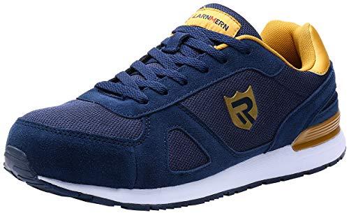 LARNMERN Zapatillas de Seguridad Hombres L9096 S1 SRC Zapatos de Trabajo con Punta de Acero Ultra Liviano Suave y cómodo Transpirable(43 EU,Azul Amarillo)