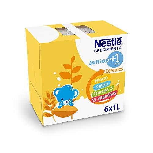 Nestlé Junior 1+ Cereales - Leche para cereales para niños a partir de 1 año, sin aceite de palma, 6 unidades x 1L