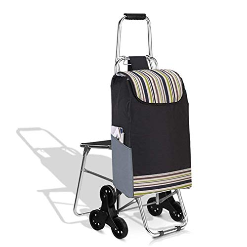 Carrito de la compra de aleación de aluminio de seis ruedas para que los ancianos compren un carrito de comida Coche plegable Cochecito para el hogar Carrito con ruedas Conveniente y práctico
