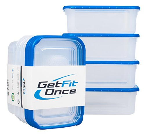 Meal Prep Containers With Lids   Airtight, Certified BPA-Free, Microwaveable, Dishwasher-Safe, Airtight 40 Oz (1.2 L) Each   Set of 4   With Healthy Recipes