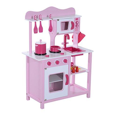 HOMCOM Kinderküche Spielküche Spielzeugküche Kinderspielküche Spielzeug mit Zubehör(Modell2/ rosa)