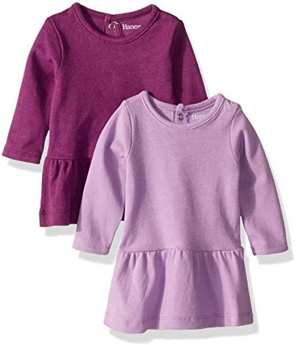 Hanes unisex baby Flexy 2 Pack Knit Long Sleeve Tunics Casual Dress Purple 18 24 Months US product image