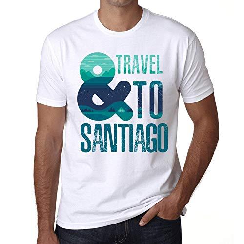 Hombre Camiseta Vintage T-Shirt Gráfico and Travel To Santiago Blanco