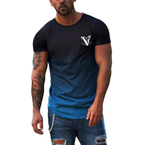 Overdose Cuello Redondo de los Hombres elástico Degradado de Manga Corta Blusa de Color elíptica Dobladillo Casual Fitness Camiseta Slim fit Comodidad