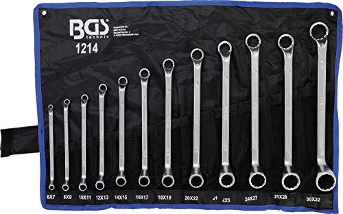 Bgs Technic Pro+ - Set Deep Crank  Da 12 Chiavi Poligonali Doppie, 6 X 7-27 X 32 Mm