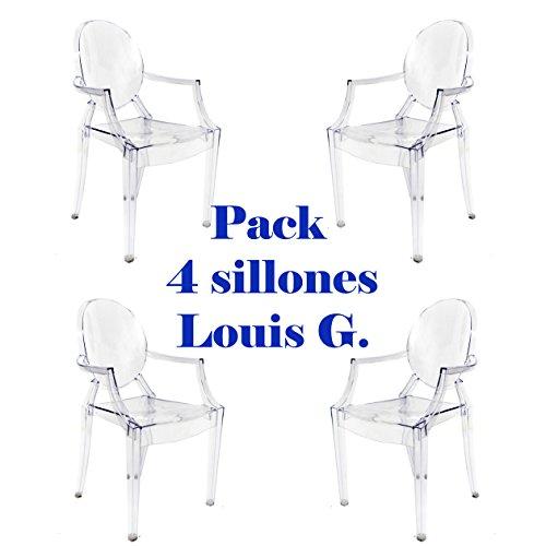 Oui Home - Pack 4 sillas Louis Ghost Transparentes