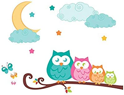 Paper Plane Design Night Owl On Branches Wall Decal