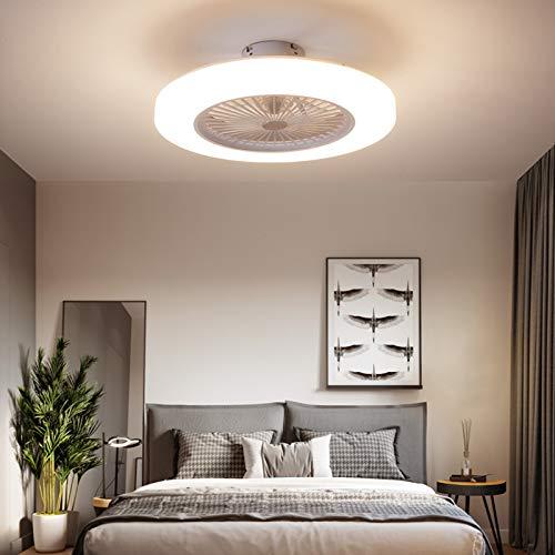 VOAOV Ventilador de Techo con Luz, 3 Velocidades de Viento, Fan Lámpara LED Regulable con Control Remoto, Plafón De Techo Silencioso para Dormitorio, Oficina, Salón, Comedor
