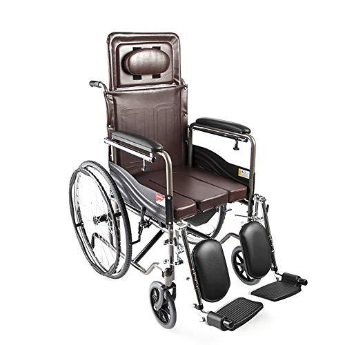 TCYLZ Liggende rolstoel, toiletstoel met nachtkastje, inklapbare metalen buisvormige transportstoel voor ouderen, afneembaar bureau en heftige beensteun